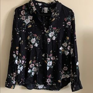 Floral long sleeve button-up